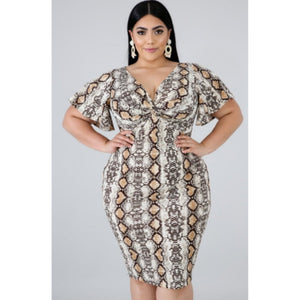 COPPERHEAD SNAKE PRINT DRESS-Dresses & Skirts-The Curvaceous Collection Boutique