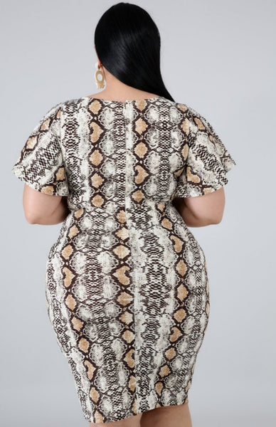 COPPERHEAD SNAKE PRINT DRESS-Dresses & Skirts-1XL-