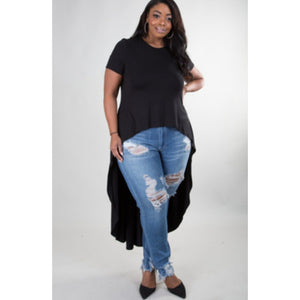black cap sleeve high-low blouse