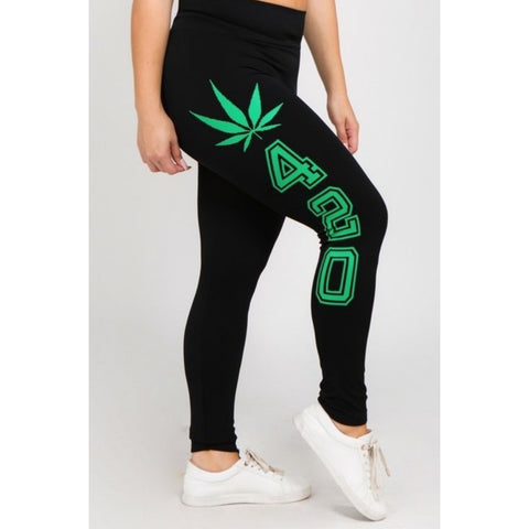CHAOS LEGALIZE IT LEGGINGS-Bottoms-The Curvaceous Collection Boutique