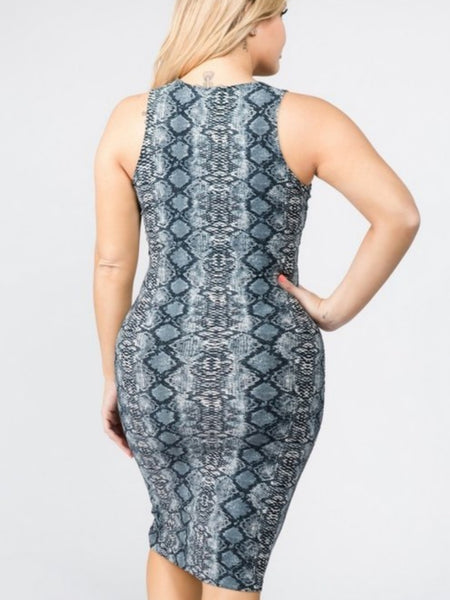 CANTIL SNAKE PRINT BODY-CON DRESS-Dresses & Skirts-XL-