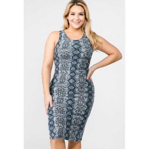 CANTIL SNAKE PRINT BODY-CON DRESS-Dresses & Skirts-The Curvaceous Collection Boutique