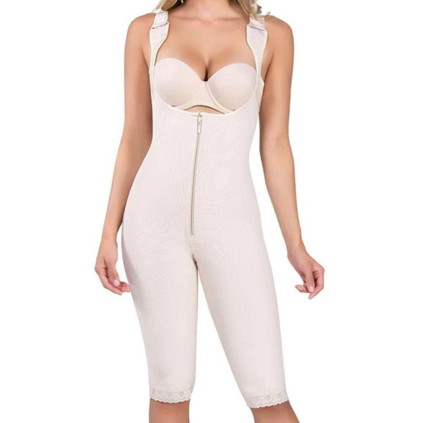 Crystal: Wide Strap Knee Length Thermal Body Shaper