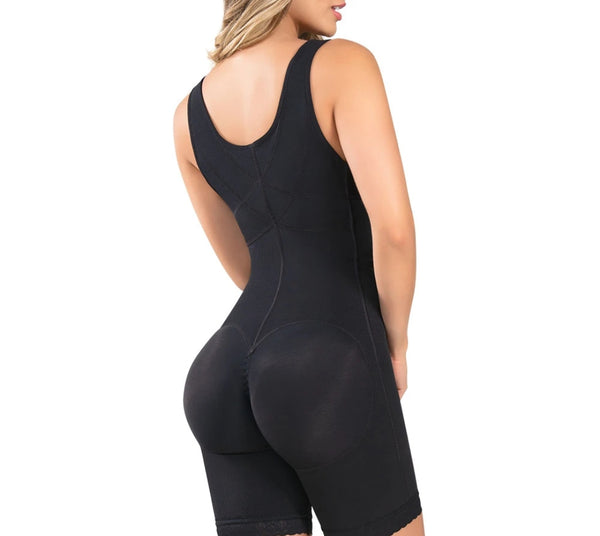 Chyna: Thin Strap Knee Length Full Body Shaper