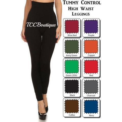 CURVY TUMMY CONTROL HIGH WAIST LEGGINGS-Bottoms-OSFM (S-XL)-