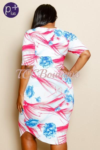 CHAVONNE PINK & BLUE BODYCON DRESS-Dresses & Skirts-1XL-