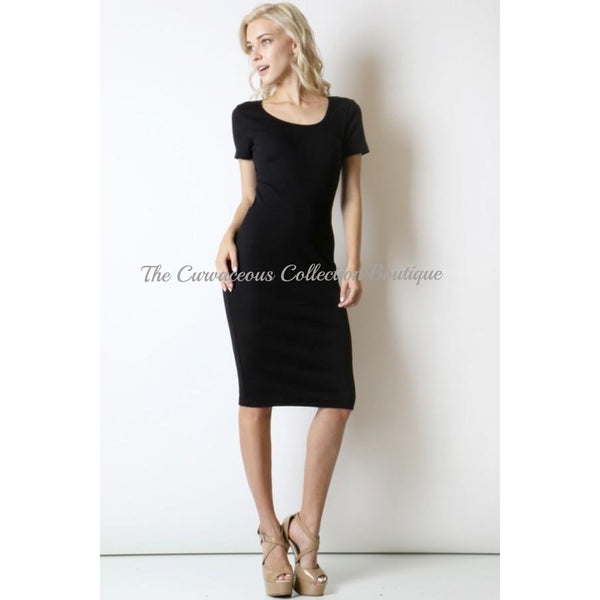 CHRISTIE CURVE SCOOP NECK JERSEY DRESS-Dresses & Skirts-Black-Small-