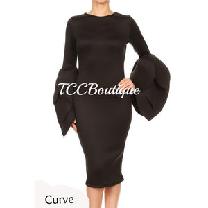 COCKTAIL TULIP SLEEVE DRESS-Dresses & Skirts-Black - Small-