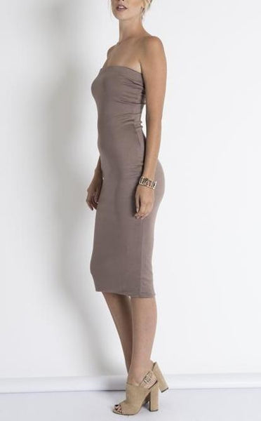 CHRISTIE TUBE BODY-CON JERSEY DRESS-Dresses & Skirts-Taupe-Medium-