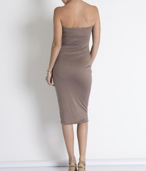 CHRISTIE TUBE BODY-CON JERSEY DRESS-Dresses & Skirts-Taupe-Large-