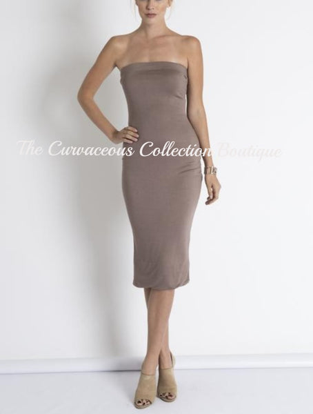 CHRISTIE TUBE BODY-CON JERSEY DRESS-Dresses & Skirts-Taupe-Small-