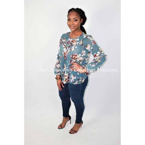 CAROLE FLORAL PRINT BLOUSE-Tops & Blouses-Blue Floral-Medium-