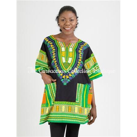 CHINAKA DASHIKI CAFTAN - UNISEX-Tops & Blouses-One-Size-B - Blue-