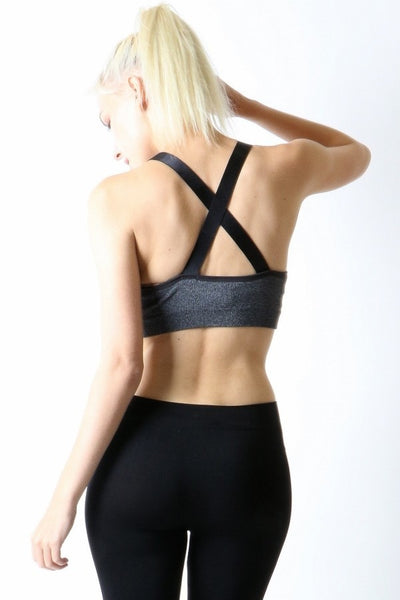COMMITTED CROSS BACK SPORTS BRA-Active Wear-Black-S/M-