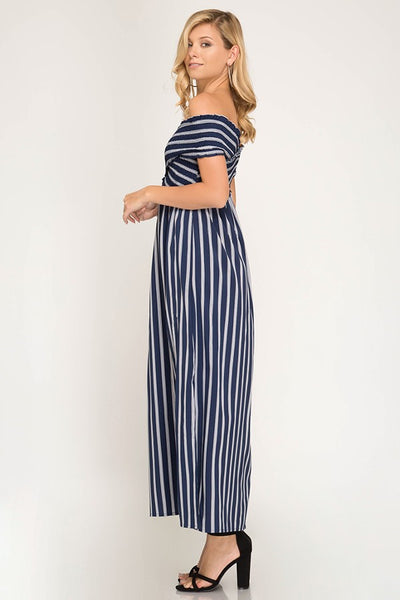 CHE OFF SHOULDER STRIPED MAXI DRESS-Dresses & Skirts-Small-