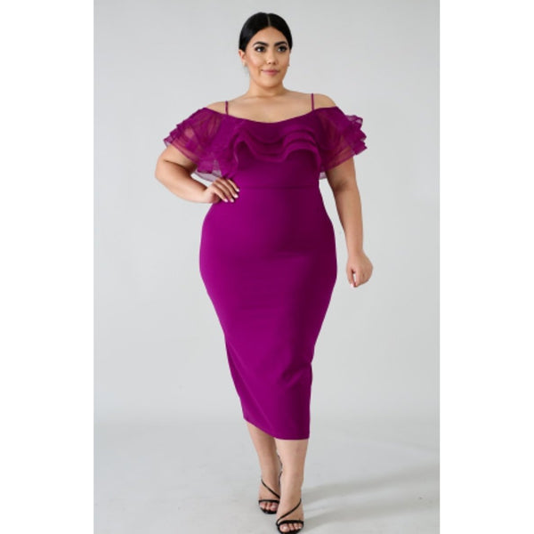 CAMERA READY SWIRL NECKLINE DRESS-Dresses & Skirts-The Curvaceous Collection Boutique