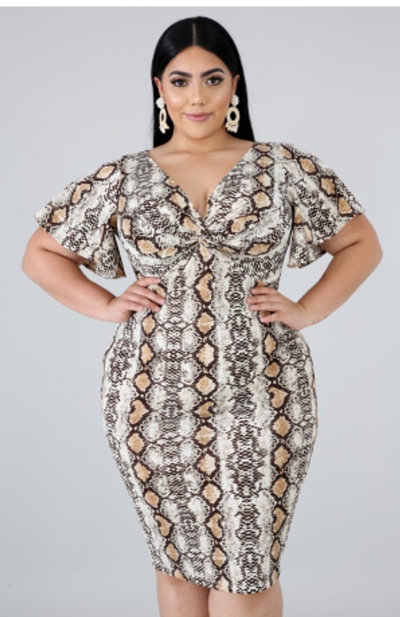 animal print body con dress, v neckline, short sleeves, midi length, finish with a back hidden zipper.