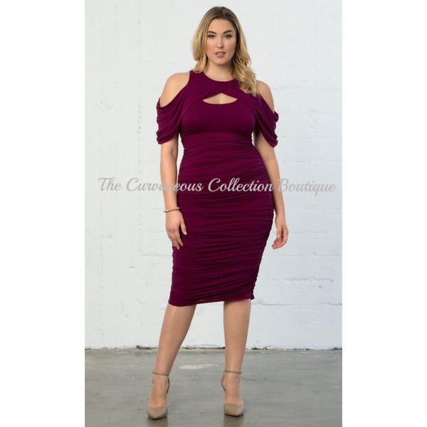 KIYONNA RUCHED DRESS-Dresses & Skirts-Plum-4XL (26-28)-