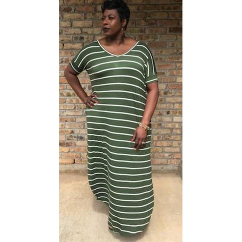 Christie Stripe Maxi Dress (Queen 1XL-3XL)