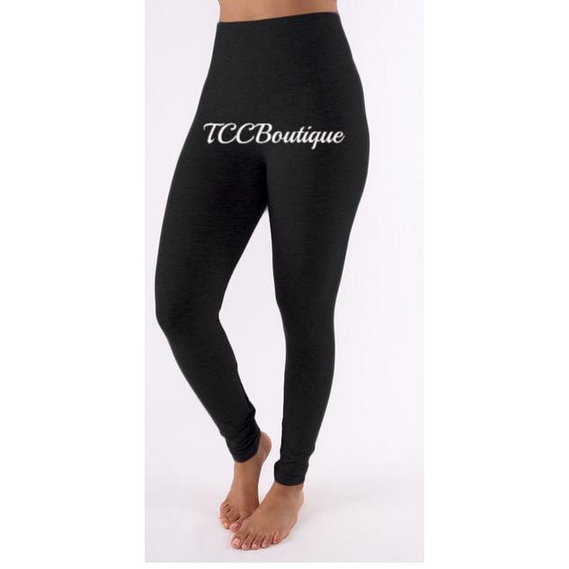CURVY WIDE WAIST BAND LEGGINGS-Bottoms-Black - S/M-