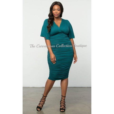 KIYONNA FLUTTER SLEEVE RUCHED DRESS-Dresses & Skirts-Teal-4XL (26-28)-