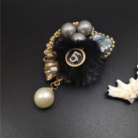 Rabbit Fur with Pearls Charm Brooch