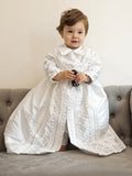 Bernardo on his Christening gown B001 handmade by Burbvus White color heirloom Baptism gown