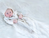 Beautiful baby on his Christening Gown B002 Handmade Burbvus