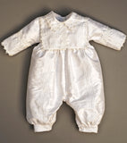Christening Gown B002 Handmade Burbvus Color White, detachable skirt.