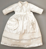 Christening Gown B007 Handmade Burbvus Ivory Color with removable Cape