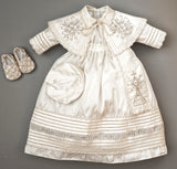 Christening Gown B007 Handmade Burbvus, Ivory Color with matching shoes