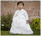 Tadeo wearing our Christening gown B008 without the cape