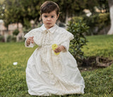 Tadeo wearing our Christening gown B008, in Ivory color