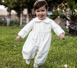 Beautiful baby boy on his Baptism Gown, jumper part only