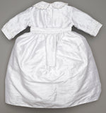 Baptism Outfit B009 Handmade Burbvus White Color, back part details wih the skirt
