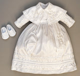 Baptism Outfit B011, with possible matching shoes and hat White Color