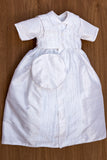 Gown Burbvus B018 Christening outfit for baby boys, features a handmade embellishment on the vest, coat and jumpsuit.