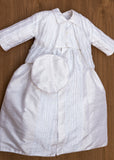 Christening gown B018 6 pieces:  - Jumpsuit - Coat - Vest - Detachable Gown - Matching Shoes ( Shoes might vary from the display picture, but, we will always ship matching shoes) - Matching Beret