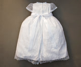Reverse handmade view of our G005 Christening Dress white color