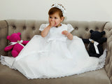 Beautiful Baby wearing our Christening Dress G005 in white with the tiara