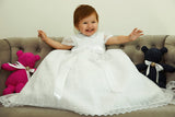 Beautiful Baby wearing our Christening Dress G005 in white