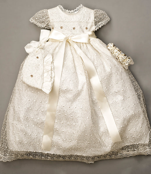 Handmade Christening Dress G005 with tiara and traditional Hat