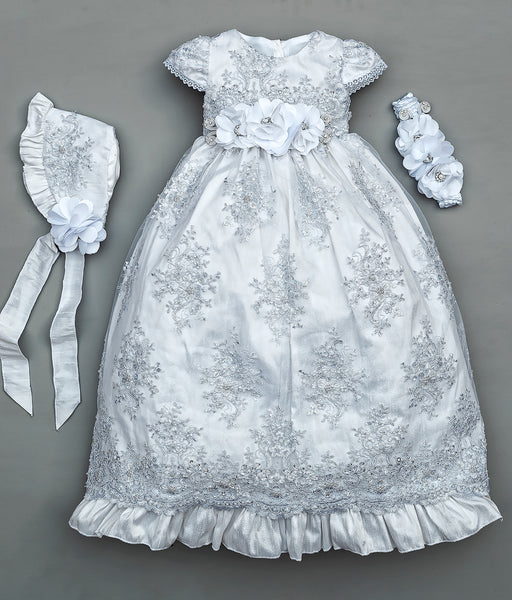 Christenig dress G009 in white, with diadem and traditional bonnet. Baptism/ Christening Burbvus