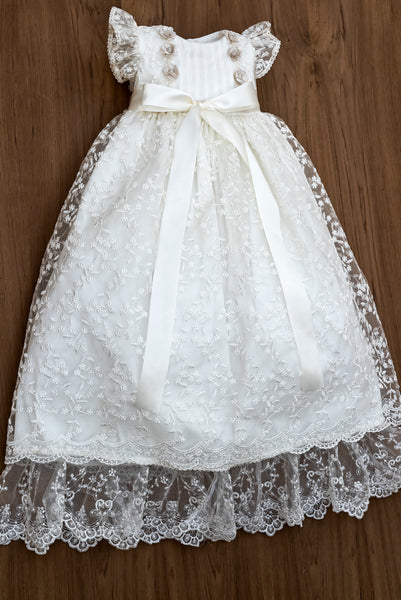 Christening Dress G022 Burbvus White or Ivory Color, Includes Bonnet that matches, Christening Gown Baptism lace dress