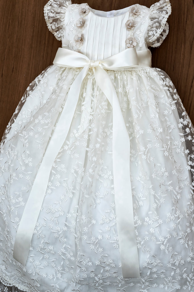 Baptism Dress G022 Burbvus available in Ivory and White color