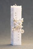 White Square handmade Christening Candle #12