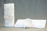 Burbvus White Christening candle Kit #4, with shell and hanky