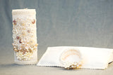 Ivory Candle kit #4, handmade with shell and hanky