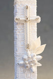 White Christening Candle with cross