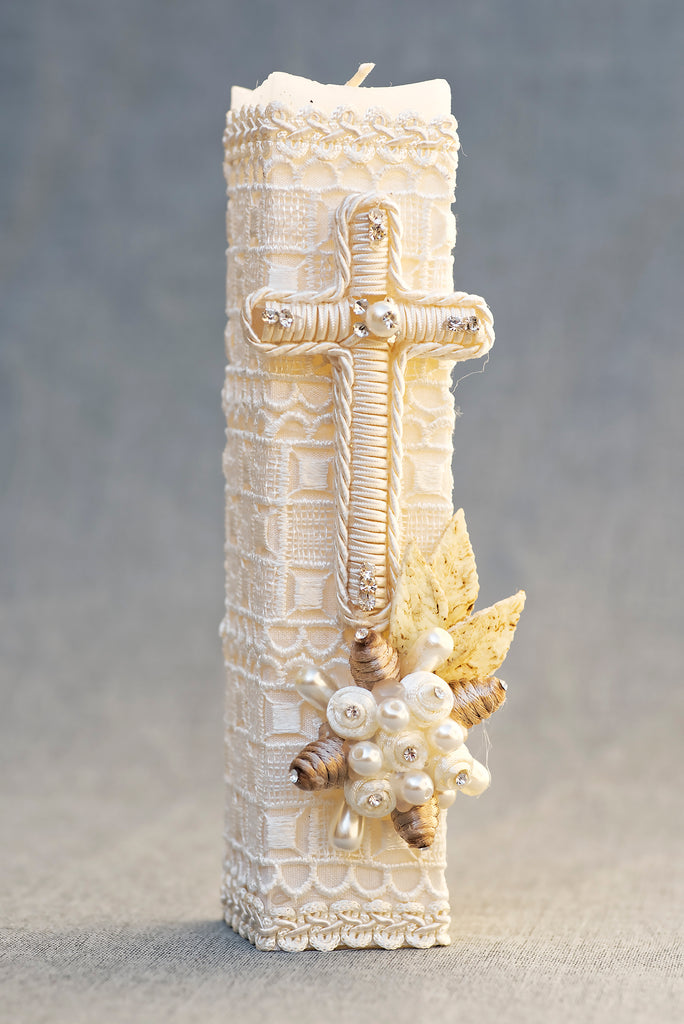 Handembroidered Ivory Baptism candle with cross